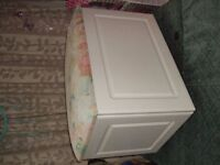 ottoman/blanket/toy box. top needs recovering but good condition