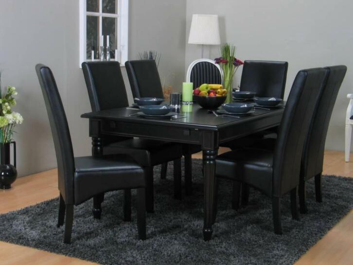 Zwarte Barok Stoel : Eethoek zwart mozart barok tafel met 6 zwarte stoelen 2dehands.be