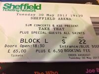 TAKE THAT TICKET - BLOCK L ROW S SEAT 22 - SHEFFIELD ARENA TUESDAY 30TH MAY 2017 £80.00