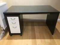 IKEA Black Brown Desk with Drawer Pedestal and Chair