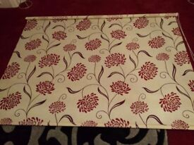 ROLLER BLIND, wide, pale cream with flower pattern, pull cord and wall fittings included