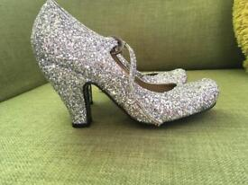 Unworn Red or Dead silver shoes size 5