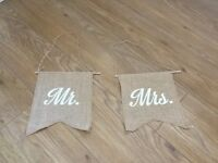 Hessian chair backs for wedding - Mr and Mrs