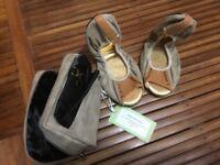 BRAND NEW Cocorose London Leics Sq Green Tan Stud Open Toe Shoe UK 3-4 Petite RRP €70