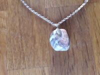 Costume Jewellery - Pink polished stone pendant on white metal chain
