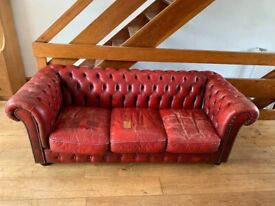 Dark Red Leather Chesterfield Sofa