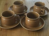 RETRO DENBY 4 Cups and Saucers, used,Canterbury Design