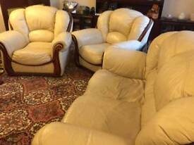 White leather suite