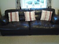 Brown leather sofa suite, 4 seater, armchair and pouffe