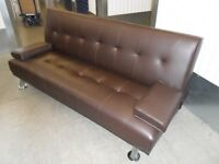 SOFA BED BROWN FAUX LEATHER