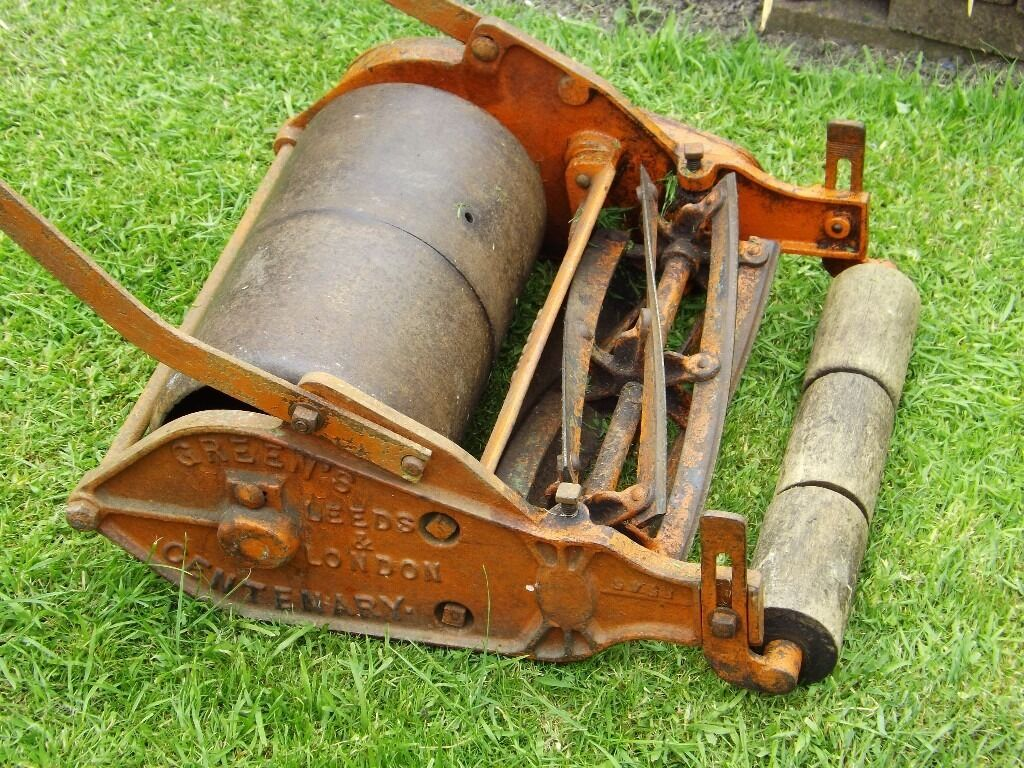 "Vintage / Antique "" Green's"" Hand Push Roller Lawnmower 1910/1920's Fully Working"