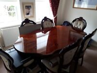 Dining table with 6 chairs and matching dresser