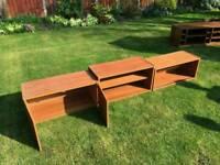 3 wooden boxes/tv unit