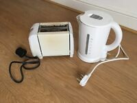 Toaster and Kettle, good condition, white