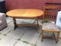 Extending dining table and 4 chairs. Ideal shabby chic project.