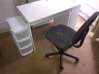 small computer desk with some shelving and drawers and chair can deliver