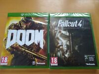 BRAND NEW GAMES FOR XBOX ONE- DOOM & FALLOUT 4 (18)