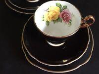 Vintage Clare Harlequin Black Bone China tea set - 1 x cup, saucer, plate