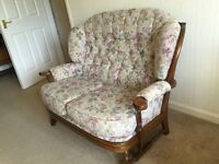 Settee and two easy chairs, cottage style