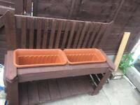 Handmade plant boxes and benches