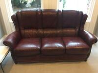 Real Leather Suite, 3 seater, 2 seater and chair
