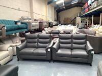 Ex-display Harper grey leather 2 x 2 seater sofas