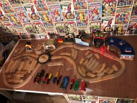 Wooden train set and stations