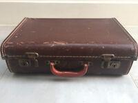"""Antique vintage brown box suitcase - 16"""" x 10.5"""" x 5.5"""""""