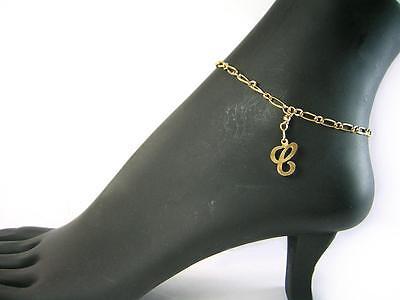 - C - Initial letter 11inch length Real 1/20 -14k gold filled Letter C anklet