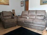 Brown suedette 3 seater & chair