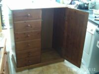 PINE CHILDS WARDROBE/DRAWERS for sale