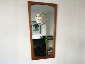 Mid Century Vintage Danish Style Abstract Tapered Teak Bevelled Wall Mirror