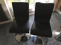 2x John Lewis black leather chairs