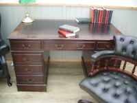 Stunning Green 5ft Leather Inlay Desk and Chesterfield Captains Chair