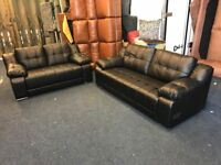BLACK BONDED LEATHER 3 AND 2 SEATER SOFA EX DISPLAY SUITABLE FOR BARBER SHOP SALON WAITING AREA ETC