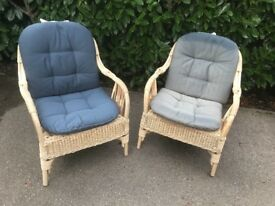 FREE two wicker chairs with blue cushions