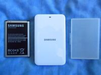 Genuine SAMSUNG NOTE 3 (N9005) External Charger, battery and battery case.