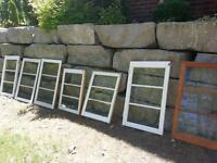 old windows and wood plant boxes