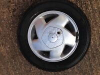 Vauxhall Cavalier 14 inch alloy wheel and nearly new tyre