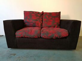 FABRIC 2 SEATER SOFA / SETTEE / COUCH WITH CUSHIONS BLACK GREY & RED COLOURS DELIVERY AVAILABLE