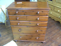 Set of bedside chest of drawer and two smaller draw units