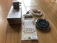 Samsung S6 New 3D Tampered Glass, Unopened Ear Phone, QI with Fast Charging Head and Phone Box