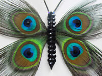 Feather Butterfly Fascinator Hair Clips Beautiful Handmade With Crystals