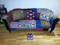 DFS Bite Sofa and Footstool Leeds animal print unique shabby chic different stand out fabric
