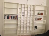 3 White Book Shelves / Units with Removable Shelves - Separate Units