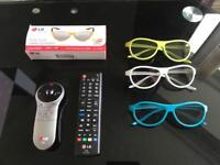 LG tv magic remotes and glasses bundle for LG cinema range tvs