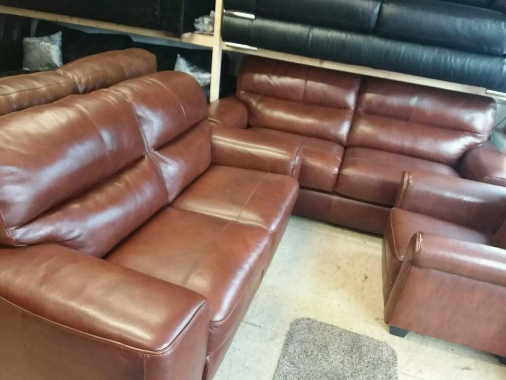 Brown leather 2 and 3 seater Italian leather