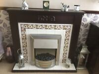 Dark wood electric fire suite