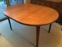 Solid Teak Wood Retro Oval Extending Dining Table, seats 4-8, 1.5-2.1m long, 110cm wide