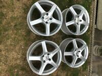 Set of 4 Alloy Wheels TSW 17 inch for Peugeot cars.